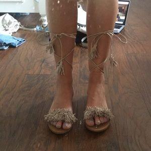 Steve Madden Lace Up Fringe Flat Sandals